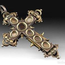 Antigüedades: CRUZ RELICARIO. PLATA, VIDRIO TRANSPARENTE. SIGLO XVII-XVIII. Lote 198403640