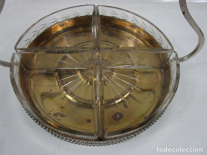 Antigüedades: Bandeja Plateada - Departamentos en Cristal Tallado - con Asa Cristal - Ideal para Frutos Secos, etc - Foto 4 - 198459100