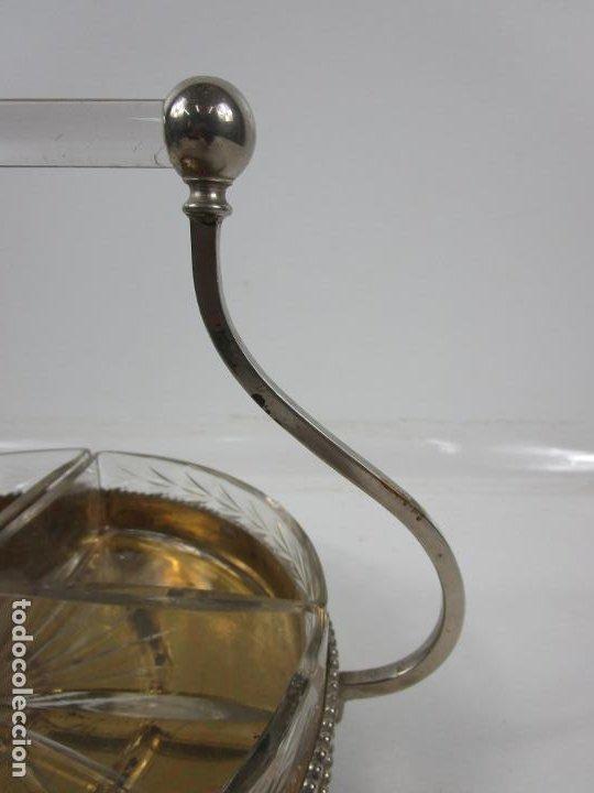 Antigüedades: Bandeja Plateada - Departamentos en Cristal Tallado - con Asa Cristal - Ideal para Frutos Secos, etc - Foto 7 - 198459100