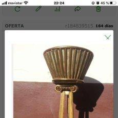 Antigüedades: MACETERO EN MADERA DORADA . Lote 198459405
