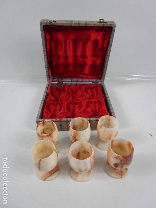 Antigüedades: Decorativas Copas de Onix - con Estuche - Altura Copa 8 cm - Foto 2 - 198460548