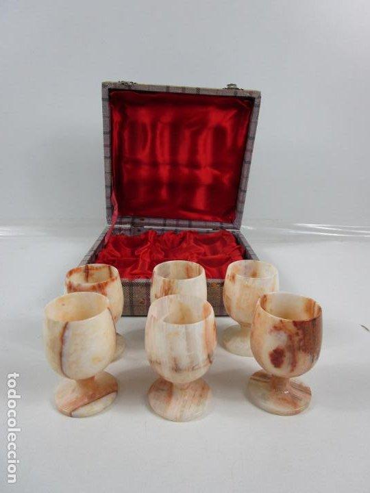 Antigüedades: Decorativas Copas de Onix - con Estuche - Altura Copa 8 cm - Foto 7 - 198460548