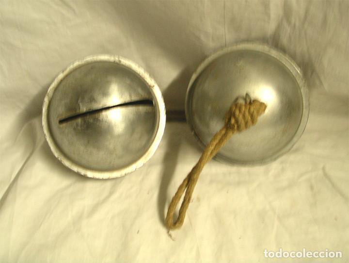 Antigüedades: Dos Cencerros Cascabeles Acero Inoxidable, artesania. Med. 14 x 12 cm - Foto 2 - 198497977
