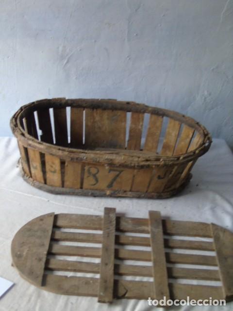 Antigüedades: CAJA CESTA BANASTA DE MADERA CON SU TAPA DIFICIL !!! - Foto 7 - 198529827