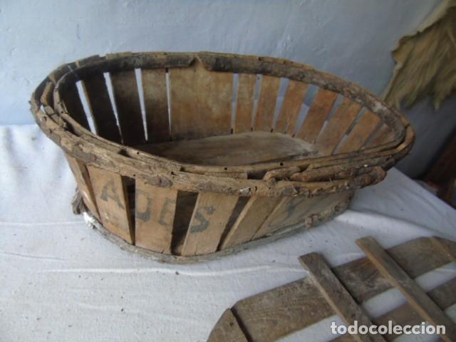Antigüedades: CAJA CESTA BANASTA DE MADERA CON SU TAPA DIFICIL !!! - Foto 14 - 198529827