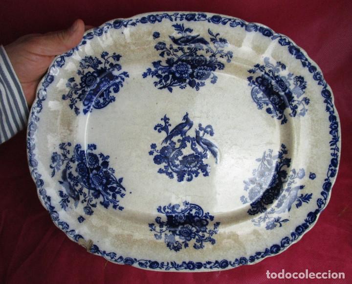 DE MUSEO! GRAN FUENTE DE SARGADELOS AVES DEL PARAISO AZUL COBALTO CIRCA 1840 (Antigüedades - Porcelanas y Cerámicas - Sargadelos)