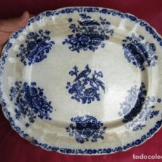 Antigüedades: DE MUSEO! GRAN FUENTE DE SARGADELOS AVES DEL PARAISO AZUL COBALTO CIRCA 1840. Lote 198575643
