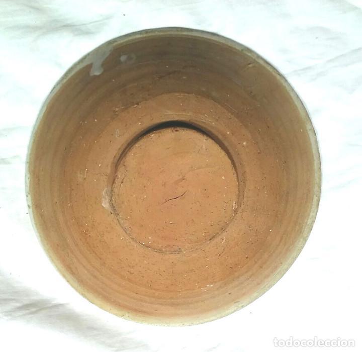 Antigüedades: Cuenco Plato cerámica Teruel S XVIII decoración Geometrica Floral Verde y Manganeso. Med. 18 x 7 cm - Foto 2 - 198587751