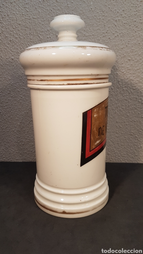 Antigüedades: Bote albarelo frasco de farmacia, época Isabelina, de porcelana posiblemente Limoges. Siglo XIX. - Foto 4 - 198650560
