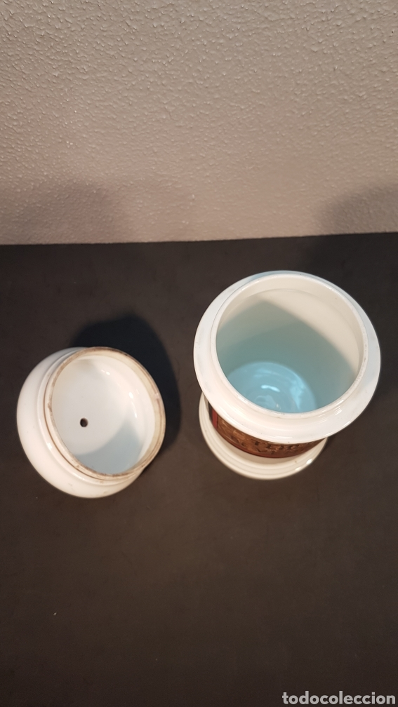 Antigüedades: Bote albarelo frasco de farmacia, época Isabelina, de porcelana posiblemente Limoges. Siglo XIX. - Foto 5 - 198650560
