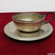 Antigüedades: PLATO Y TAZA DE ALPACA. Lote 198679835