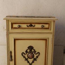 Antigüedades: MUEBLE CONSOLA RECIBIDOR EN MADERA CON TAPA DE MARMOL. Lote 198770046