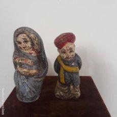 Antigüedades: PAREJA DE ESCULTURAS COMICAS POLICROMADAS INDIA SIGLO XIX. Lote 198784143