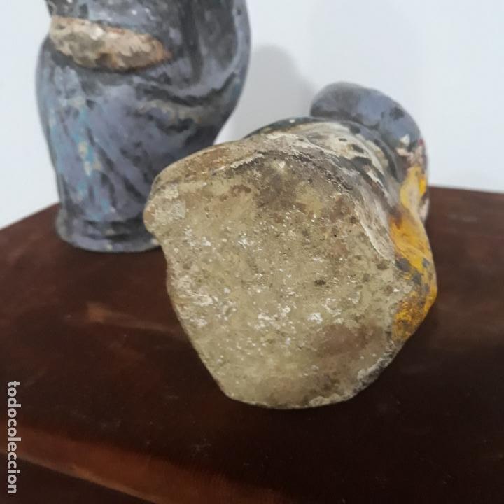 Antigüedades: pareja de esculturas comicas policromadas india siglo xix - Foto 2 - 198784143