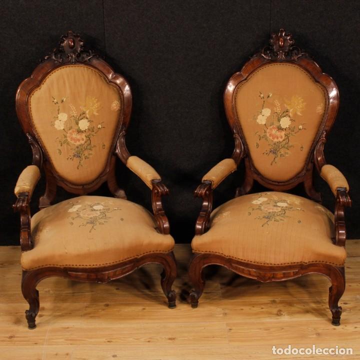 Antigüedades: Par de sillones de nogal italiano Louis Philippe del siglo XIX - Foto 2 - 198817056