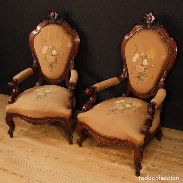 Antigüedades: Par de sillones de nogal italiano Louis Philippe del siglo XIX - Foto 3 - 198817056