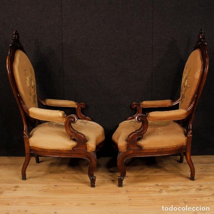Antigüedades: Par de sillones de nogal italiano Louis Philippe del siglo XIX - Foto 4 - 198817056