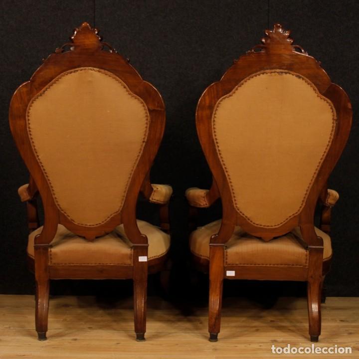 Antigüedades: Par de sillones de nogal italiano Louis Philippe del siglo XIX - Foto 5 - 198817056