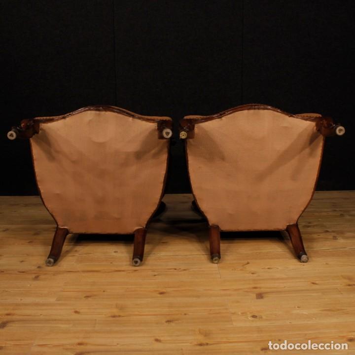 Antigüedades: Par de sillones de nogal italiano Louis Philippe del siglo XIX - Foto 7 - 198817056
