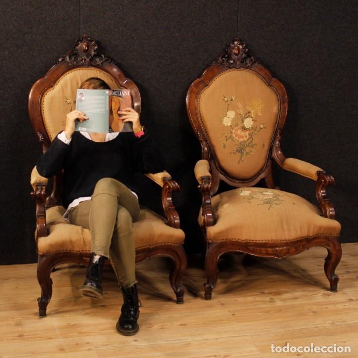 Antigüedades: Par de sillones de nogal italiano Louis Philippe del siglo XIX - Foto 11 - 198817056