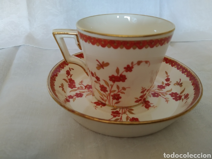 TAZA Y PLATO MINTON 1884 (Antigüedades - Porcelanas y Cerámicas - Inglesa, Bristol y Otros)