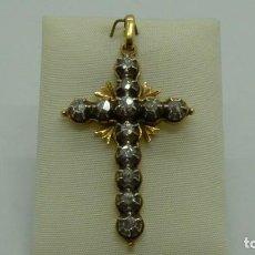 Antigüedades: CRUZ ESTILO ISABELINO CON 12 DIAMANTES ROSA. CA.1970. Lote 198822406