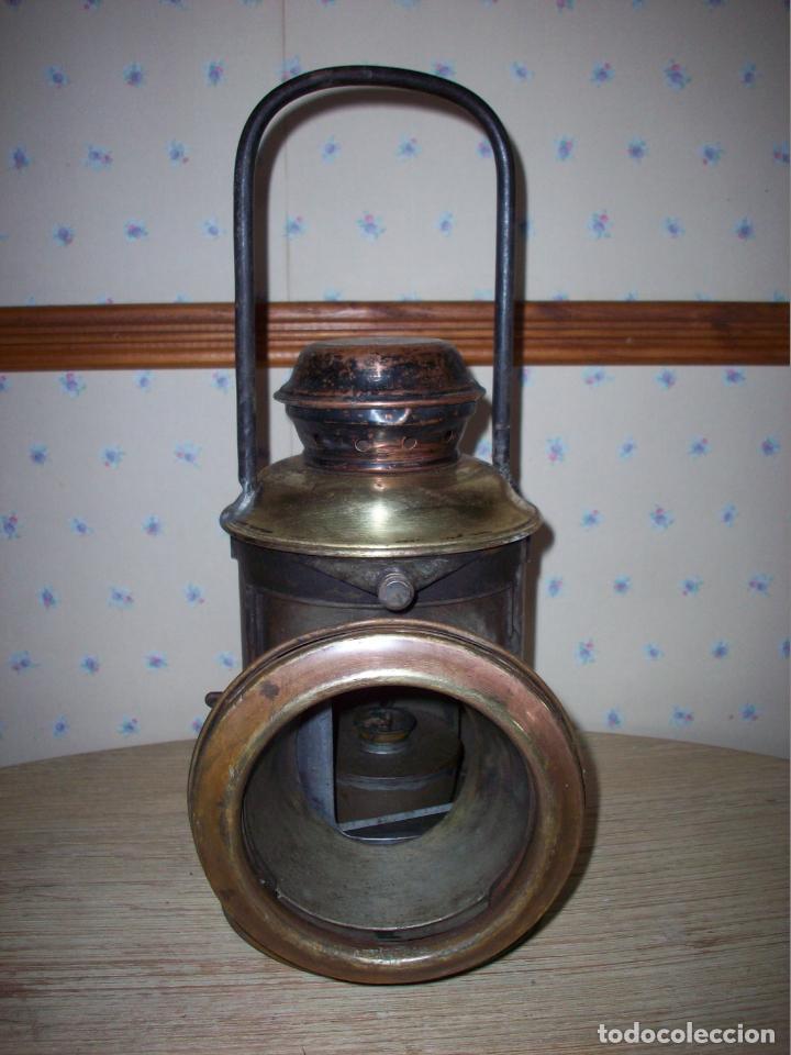 FAROL FERROVIARIO ANTIGUO DE LOCOMOTORA (Antigüedades - Iluminación - Faroles Antiguos)