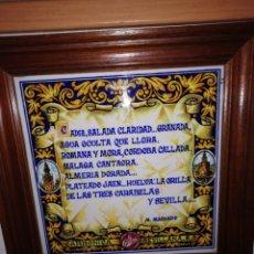 Antiguidades: CUADRO ENMARCADO DE LA CASERA AZULEJO. Lote 198857933