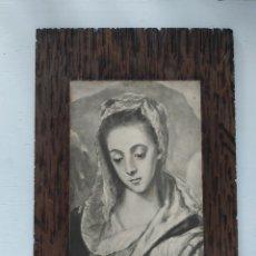Antigüedades: LÁMINA DE LA VIRGEN SOBRE TABLA DE MADERA. AÑOS 40. Lote 198909100