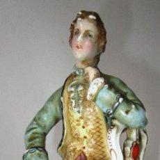 Antigüedades: PRECIOSA FIGURA ANTIGUA CERAMICA CENTGRO EUROPEA, S XVIII XIX SELLADA A ESTUDIAR. Lote 198955398