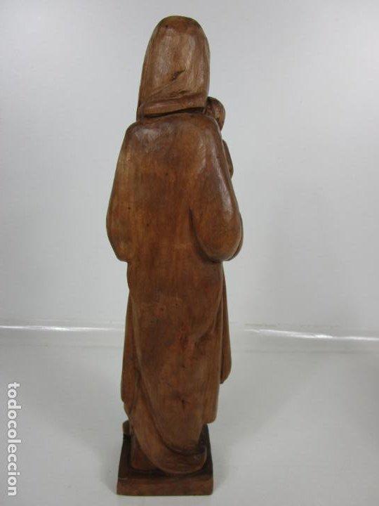 Antigüedades: Virgen con Niño - Talla de madera - Talleres de Olot - 43 cm Altura - Años 50 - Foto 6 - 198981670