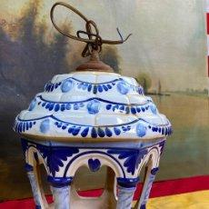 Antigüedades: PRECIOSA LAMPARA DE COLGAR EN CERAMICA - FAROL. Lote 198987638