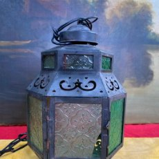 Antigüedades: PRECIOSO FAROL O LAMPARA ORNAMENTADA, CRISTALES LABRADOS. Lote 198990462