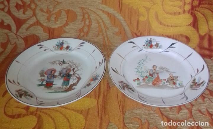 ANTIGUA PAREJA DE PLATOS SAN CLAUDIO OVIEDO CON MOTIVOS CHINOS (Antigüedades - Porcelanas y Cerámicas - San Claudio)