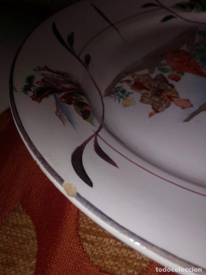 Antigüedades: Antigua pareja de platos San Claudio Oviedo con motivos chinos - Foto 14 - 199043068