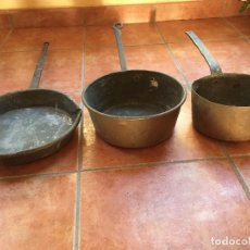 Antigüedades: LOTE DE 3 ANTIGUOS CAZOS - OLLAS DE COBRE. Lote 199053412