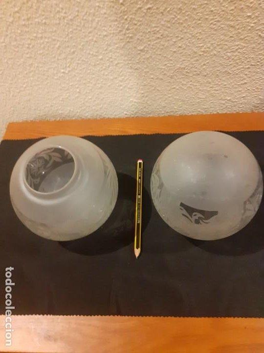 Antigüedades: Lote de dos tulipas antiguas de cristal para lampara o quinques - Foto 3 - 199070933