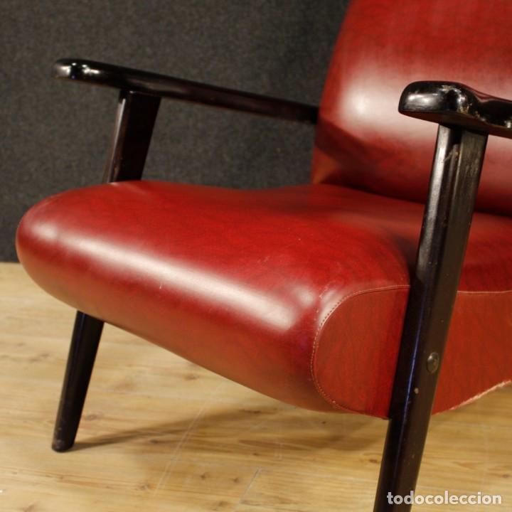 Antigüedades: Sillón de diseño italiano en piel sintética roja - Foto 4 - 199087422
