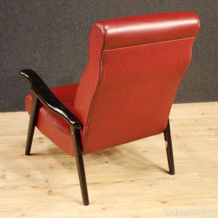Antigüedades: Sillón de diseño italiano en piel sintética roja - Foto 6 - 199087422