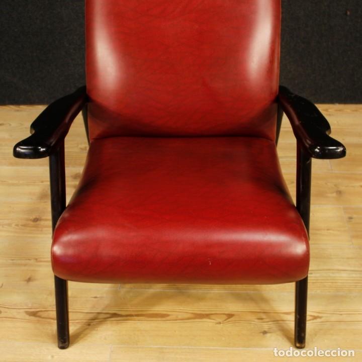 Antigüedades: Sillón de diseño italiano en piel sintética roja - Foto 10 - 199087422