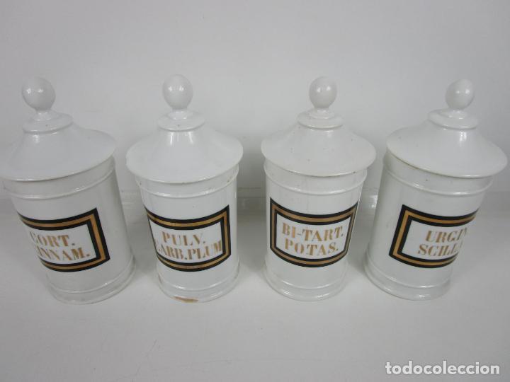 Antigüedades: Botes de Farmacia - Bote, Albarelo - Porcelana - Letras Doradas - S. XIX - Foto 2 - 199088753