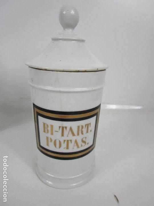 Antigüedades: Botes de Farmacia - Bote, Albarelo - Porcelana - Letras Doradas - S. XIX - Foto 8 - 199088753