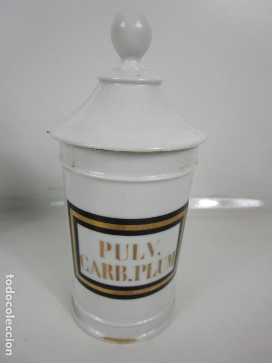 Antigüedades: Botes de Farmacia - Bote, Albarelo - Porcelana - Letras Doradas - S. XIX - Foto 12 - 199088753