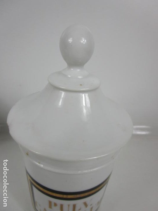 Antigüedades: Botes de Farmacia - Bote, Albarelo - Porcelana - Letras Doradas - S. XIX - Foto 14 - 199088753