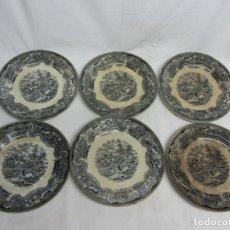 Antigüedades: SEIS PLATOS EN LOZA DE CARTAGENA. S.XIX. Lote 199107091