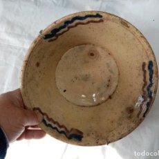 Antigüedades: ANTIGUO Y PEQUEÑO LEBRILLO CERAMICA RUSTICA VIDRIADA DE BAILEN-JAEN-MEDIDA 25 X 7 CENTIMETROS. Lote 199150476
