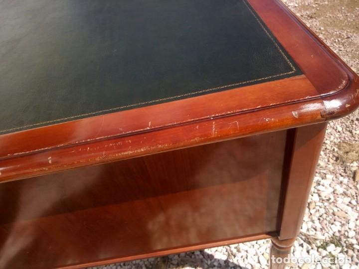 Antigüedades: Antiguo escritorio estilo luis xv con cuero verde en la superficie. - Foto 11 - 199151458