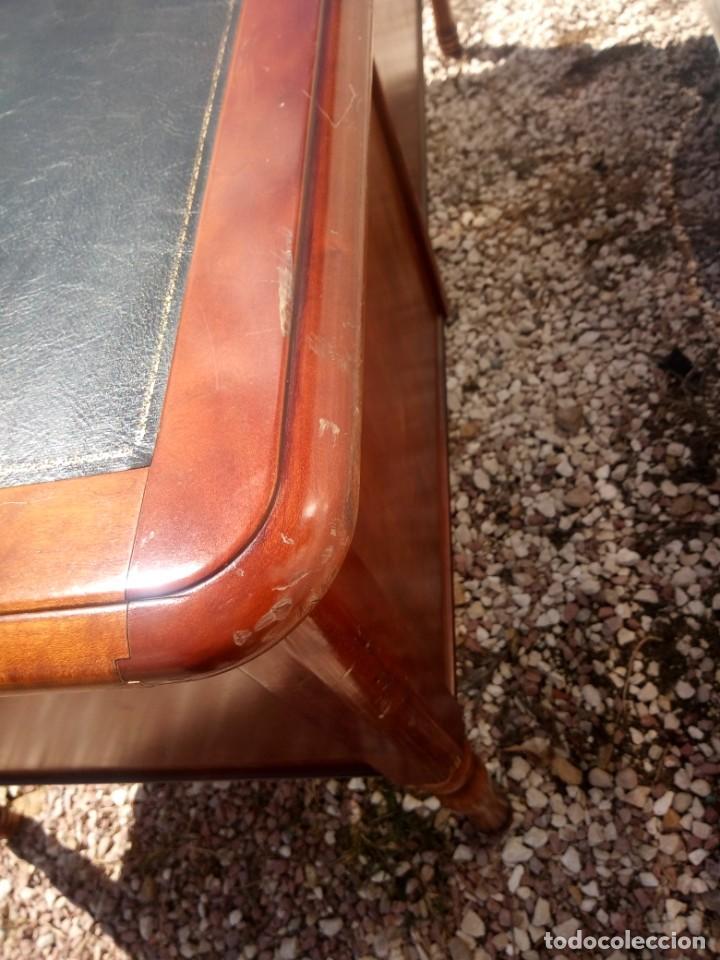 Antigüedades: Antiguo escritorio estilo luis xv con cuero verde en la superficie. - Foto 12 - 199151458