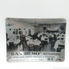 Antigüedades: CENICERO PROMOCIONAL DE NAVIDAD AÑO 1965. RESTAURANTE SAN REMO, REUS - TARRAGONA. Lote 199165875