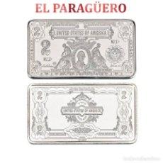 Antigüedades: LINGOTE DE 2 DOLARES PLATA DE 33 GRA ( PRESIDENTE JAMES MADISON DE 1809-1817 )Nº2. Lote 199167728